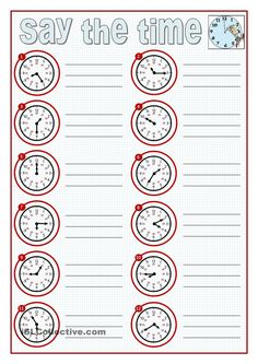 Learning to say the time is a challenge to young learners and an important content when we teach present simple and routines. Here you are some clocks to practice. Teaching Clock, Teaching Time, Teaching Jobs, English Grammar Worksheets, Math Worksheets, Printable Worksheets, English Fun, English Lessons, Learn English