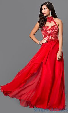 2cd702acf1 Long High Neck Gown with Lace Embellished Bodice by Temptation Strapless  Party Dress