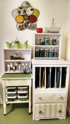 Not mine. repurposed an old dresser for my small stained glass station. Top drawers are now shelves. Stained Glass Studio, Faux Stained Glass, Stained Glass Designs, Stained Glass Projects, Stained Glass Patterns, Glass Shelves In Bathroom, Floating Glass Shelves, Bathroom Storage, Decoration Ikea