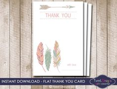 POW WOW Thank you Card Instant Download por TweetPartyBoutique