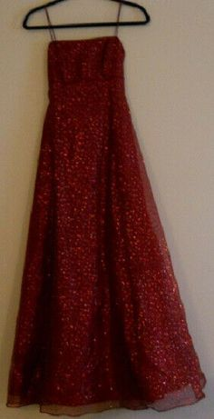 2049956e Betsy Adams Shimmering Wine Colored Spaghetti Strap Prom Dress Size 4  #fashion #clothing #