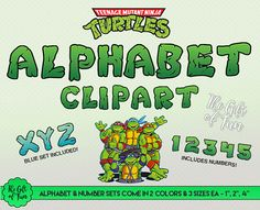Ninja Turtles Alphabet Clipart  in Green and Blue  Includes