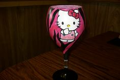 Hello Kitty hot pink & zebra wine glass~ 30 $