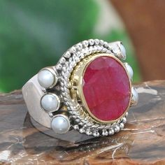 SOLID 925 STERLING SILVER RUBY & PEARL EXCLUSIVE RING 7.40g DJR10225 SZ-6.25…