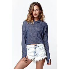 La Hearts Cropped Fleece Pullover Hoodie ($30) ❤ liked on Polyvore featuring tops, hoodies, hooded pullover, navy blue hoodie, pullover hoodies, women tops and fleece hoodie