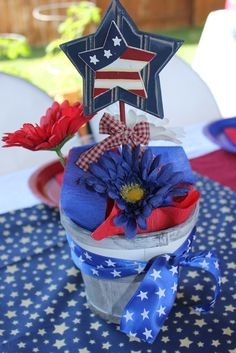 Centerpiece at a 4th of July Party #4thofjuly #partycenterpiece