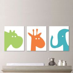 Baby Boy Nursery Art - Hippo Nursery Art - Giraffe Nursery Decor - Elephant Nursery - Zoo Animal Nursery Art - Orange Green Blue -  (NS-591)