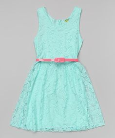 http://www.zulily.com/invite/vhanson979 This Mint Lace Belted Dress - Toddler & Girls is perfect! #zulilyfinds