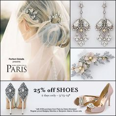 PerfectDetails.com presents Paris by Debra Moreland. Save the date!  This is the ultimate Trunk Show at our Burlingame CA showroom & online.  Preview: https://perfectdetails.com/paris-bridal-hair-jewelry.htm and https://perfectdetails.com/paris-bridal-jewelry.htm