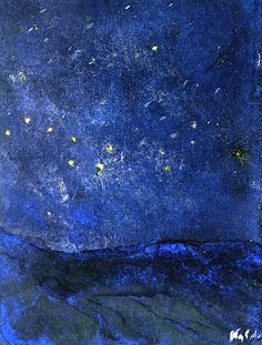 Starry Sky  Emil Nolde - 1938-1945 oil painting contemporary impressionist artwork nightsky, landscape