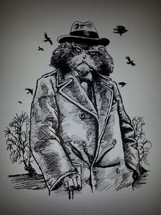 original anthropomorphic art by Bristol artist Julian Quaye Ray Winstone, Inspector Calls, Sean Bean, I Cant Sleep, Paper Drawing, Humphrey Bogart, Meet The Artist, Famous Artists, Bristol