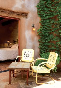 Pretty, private patio of The Adobe Room at #El Portal Sedona Hotel.  #LuxuryHotelRooms