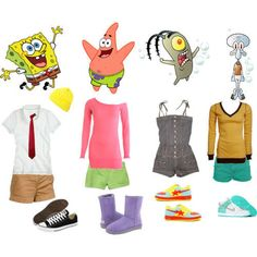 if u wanna look like a character from SpongeBob for Halloween this is a great costume or idea! Group Halloween Costumes, Halloween Kostüm, Halloween Outfits, 90s Costume, Group Costumes, Family Halloween, Estilo Disney, Square Pants, Character Inspired Outfits