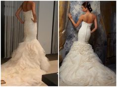 Vera Wang Gemma wedding dress (left) vs Mori Lee Blu 5104 wedding dress (right) (back view)
