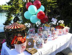 Vintage Carnival Birthday Party table idea
