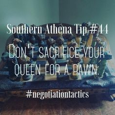 Don't sacrifice your queen for a pawn. #southernathenatips #negotiation #tactics #chess #realestate #lifelessons We saw this gem of a chess set today and had to share. Today's market in real estate is a jungle out there. Let us help you navigate and negotiate through the treacherous waters. We make great guides!