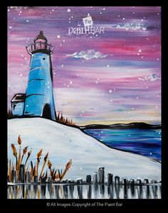 Winter Lighthouse on the Cape Painting - Jackie Schon, The Paint Bar