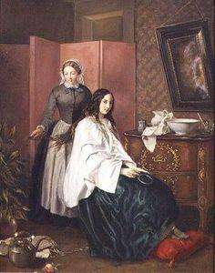 """""""Combing My Lady's Tresses (n.d.) Jean-Baptiste-Antoine-Emile Béranger (1814-1883) Josef Mensing Gallery, Hamm-Rhynern, Germany via Bridgeman Education """""""