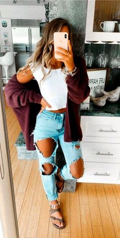 Spring Outfit Women, Spring Dresses Casual, Trendy Summer Outfits, Cute Comfy Outfits, Cute Fall Outfits, Winter Outfits, Easy School Outfits, Cute Jean Outfits, Casual Spring Outfits