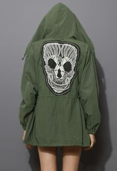 Lace Skull Detail Armygreen Military Coat - Outers - Retro, Indie and Unique Fashion