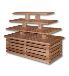 070003 Four Tier Bakery Table x x Have base fold like a diamond and pillars held in by pegs or blocks. Easy fold-away. Wood Display, Display Shelves, Shelving, Craft Show Displays, Store Displays, Bakery Design, Restaurant Design, Bakery Display, Fruit Shop