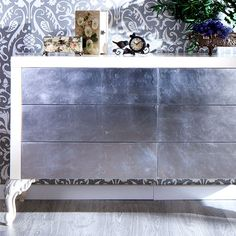 Florence Six Drawer Chest White with Silver Leaf
