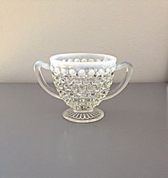 Anchor Hocking Moonstone Clear Opalescent Hobnail 1940's Footed Open Sugar, Vintage, Cottage Style, Shabby Chic