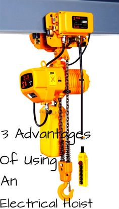 A hoist is a device used for lifting or lowering heavy machinery. Here are 3 advantages of using an electrical hoist. •Increases productivity •Carries a high load capacity •Generates less noise than manual and hydraulic hoist An electric hoist is useful for both industrial and smaller scale uses. This aluminum alloy hoist, that includes an electrical trolley, can carry up to 2 tons. Click to learn more on how you can source first-rate electric, manual, and hydraulic hoists.