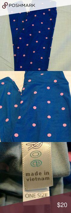 LulaRoe One Size Buttery Soft Leggings Blue leggings with Pink Polka Dots LuLaRoe Pants Leggings