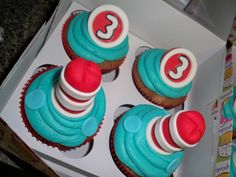 More Cat in the Hat Cupcakes  www.contemporarycakery.com