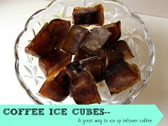 Coffee Ice Cubes- a great way to use up leftover coffee.  I love using these when I make iced coffee as it doesn't water it down.  And I've found other great uses for them too!