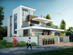 A great ultra modern bungalow design gives a complete new style statement to your dream project. Duplex House Design, House Front Design, Modern House Design, Modern Bungalow Exterior, Ultra Modern Homes, Bungalow Interiors, Modern House Plans, Facade House, Exterior Design