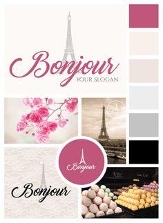 Logo/Premade Logo/Pink Logo/ Cute Logo/Paris Logo/Typography Logo/Brand… Slogan, Baking Logo, Paris Logo, Logo Branding, Color Change, Logo Pink, Typography, Cute, Vintage