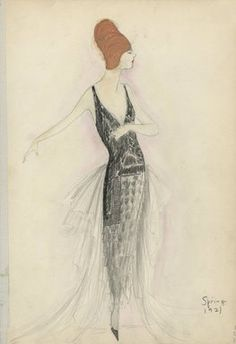 """Evening Dress, Spring 1921.  Black and grey ankle length dress; skirt with tiers of graduated light to dark grey triangles; bodice with narrow shoulder straps and low v-neck; bodice possibly embroidered with black jet beads extending to below hips; sheer white ruffled train at back extending from waist to floor. (Bendel Collection, HB 039-66)"", 1921. Fashion sketch. Brooklyn Museum, Fashion sketches. (Photo: Brooklyn Museum, SC01.1_Bendel_Collection_HB_039-66_1921_SL5.jpg)"
