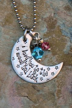 Hand Stamped Crescent Moon with Crystals  by JoyBelleJewelry, $16.00