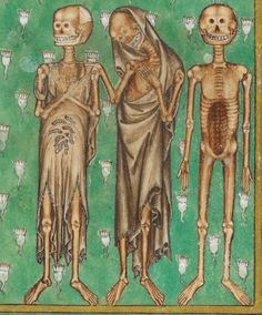 Zombies Skeletons (kind of lol) for Halloween !  Top image comes from The Taymouth Hours (Yates Thomspon MS 13), bottom image from The Howard Psalter (Arundel MS 83).  Images from The British Library.