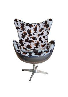 fauteuil oeuf egg chair aviateur peau de vache en tissu doux et épais 0cb349d6962e