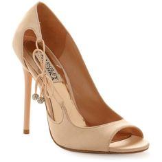 Badgley Mischka Shoes, Wanda Peep Toe Pumps (9.930 RUB) ❤ liked on Polyvore featuring shoes, pumps, heels, sapatos, lace up pumps, peep-toe shoes, high heel pumps, rhinestone peep toe pumps and rhinestone pumps