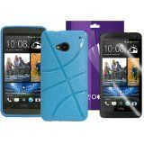 Fosmon 2 in 1 Bundle 1x Fosmon Crystal Clear Screen Protector Guard Shield Cover Film for HTC One (M7) / 1x DURA Series Basketball Grip Design Case for HTC One (M7) - Blue