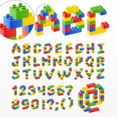 Quality Graphic Resources: Lego Blocks - Vector Alphabet More Ninjago Party, Lego Birthday Party, Boy Birthday, Lego Friends Birthday, Lego Duplo, Lego Technic, Alphabet Police, Alphabet Blocks, Lego Font
