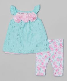 Green Eyelet Layered Top & Floral Leggings - Infant & Toddler