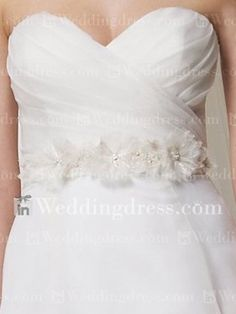 Strapless Sweetheart Informal Flower Sash Organza Wedding Dress BC655