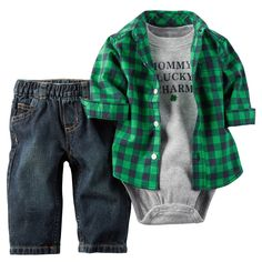 """He'll have the luck of the Irish when he wears this adorable Green Plaid Outfit from Carter's. Paddy's day festivities, the shirt's slogan says it all, """"Mommy's Lucky Charm"""". Your little man will look so handsome in this cute outfit. Little Boy Fashion, Baby Boy Fashion, Kids Fashion, Carters Baby Boys, Baby Kids, Baby Boy Outfits, Kids Outfits, Toddler Outfits, Cute Baby Clothes"""