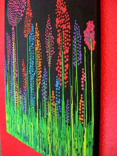 Handmade Wildflower Encaustic Wax Painting - Melted Crayon Art - 16x20 - black, orange, purple, pink, teal, green