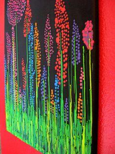 Handmade Wildflower Encaustic Wax Painting - Melted Crayon Art - 16x20 - black, orange, purple, pink, teal, green