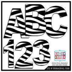 Zebra Print Digital Alphabet and Number by partypapercreations, $3.00