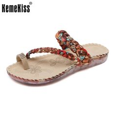 5c460bd7d313 KemeKiss Women Flats Sandals Flip Flops Peep Toe Sandal Beach Shoes Fashion  Slippers Women s Flat Daily