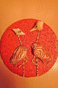 """Birds"" tiny, miniature seashell mosaic or magnet on the cork base."