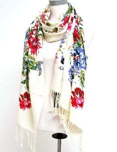 "White Floral Print Pashmina Scarf 24""w - Scarves - Apparel Accessories"