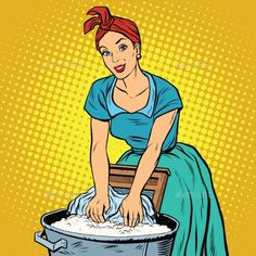 Buy Retro Woman Laundress To Wash Clothes by studiostoks on GraphicRiver. Retro woman laundress to wash clothes, pop art vector illustration. Dirty and clean. Arte Pop, Cute Wallpaper Backgrounds, Cute Wallpapers, Cartoon Pics, Cute Cartoon, Desenho Pop Art, Clothes Clips, Laundry Art, Pop Art Women